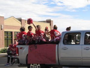The Eaton Dance Team dresses in red attire to show their Eaton Reds spirit.
