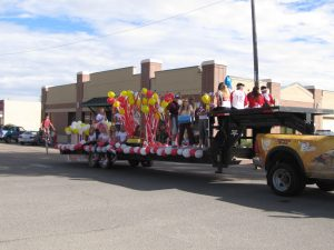 The Eaton High School Junior Class sports their carnival themed float in the parade.
