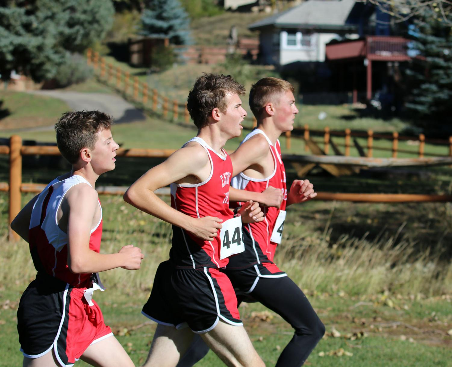 Everett Preston (21), Jayce Parrish (19) and Dalton Duncan (19) compete together for a fast time.