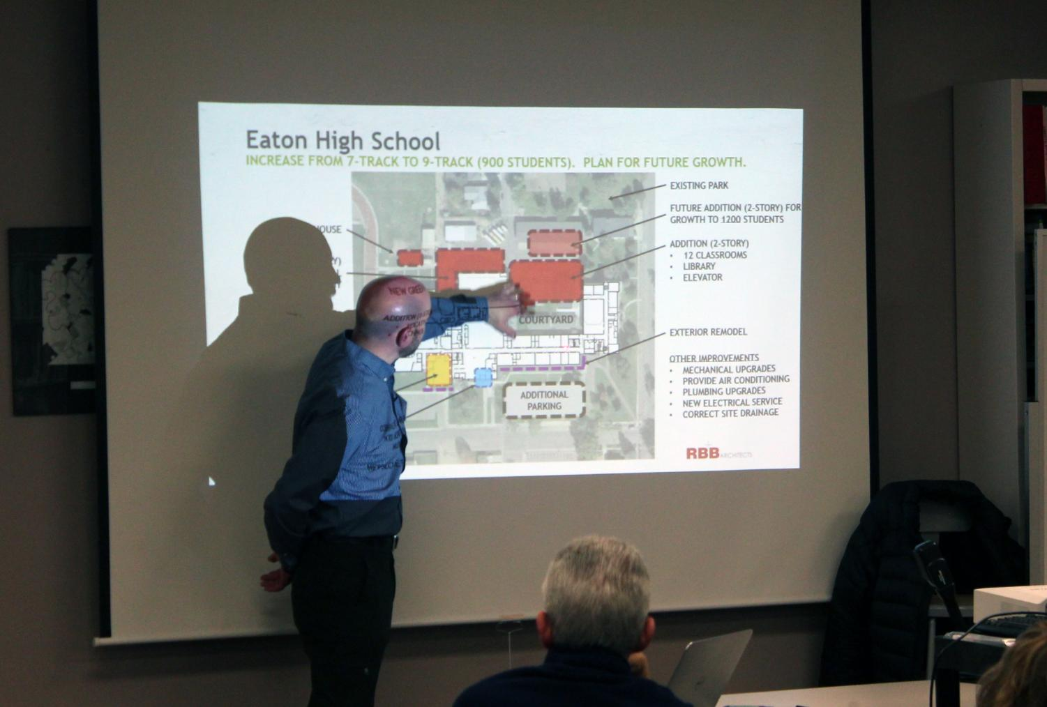Matt Arabasz presents the plans for the high school to the Long Range Facilities Planning Committee.