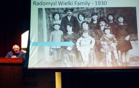 Holocaust survivor, Nathan Taffel, speaks at EHS on April 14