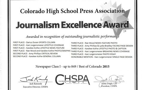 Journalists Garner Awards from CHSPA