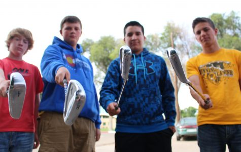 Peter Grossenbacher,  Andy Geisick, Ethan Alcazar, and J.D. Truax get serious about state golf, which begins this week. (Cameron Moser)