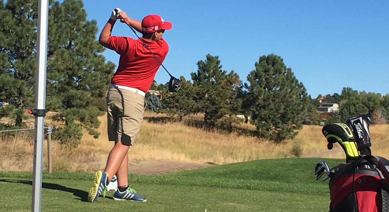 Ethan Alcazar drives the ball down range.