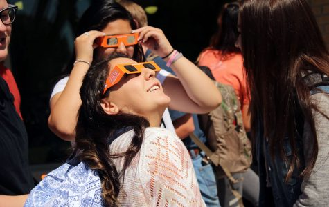 Students donned safety glasses on Monday, August 21 and watched the sky go dim as the sun reached 96 percent eclipse.