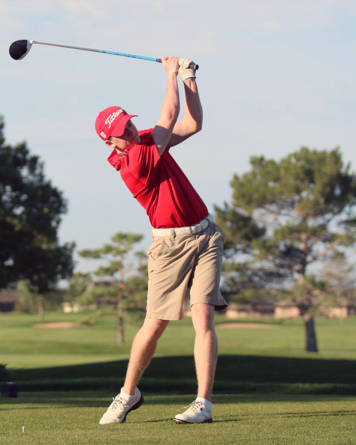 Peter Grossenbacher tees off on the opening round of the Eaton Invitational Golf Tournament on Thurs. August 17.