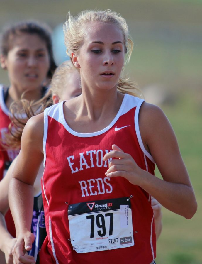 McKenna Cyphers keeps pace just ahead of Angelica Orozco to help the team take third-place finish at Estes Park.