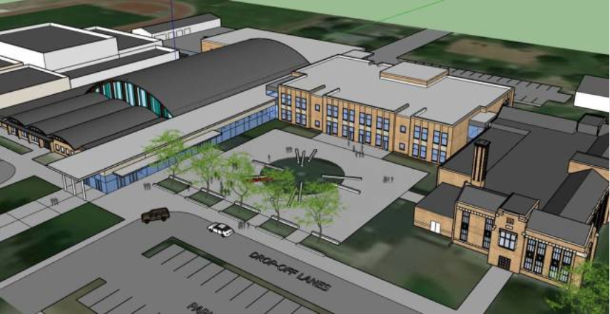 The proposed concept design of EHS with renovations from Initiative 4a funding. According to the Proposed 2018 Bond Projects and Summary of Costs document, EHS would receive maintenance updates, a two-story addition, a new band room, a secure entry vestibule, and new classroom spaces built to accommodate up to 800 students.