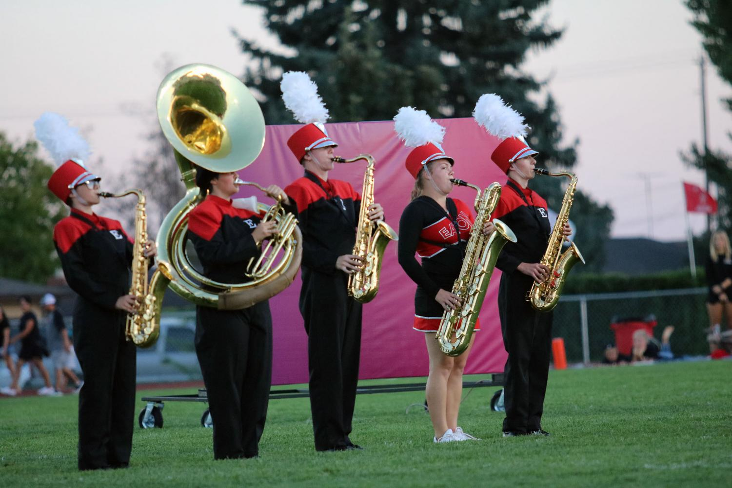 Marching band members Lexi Nigro (20), Klara Cordova (20), Dylan Davis (21), Janae Jarnagin (19) and Jonathan Brantner (21) perform their show