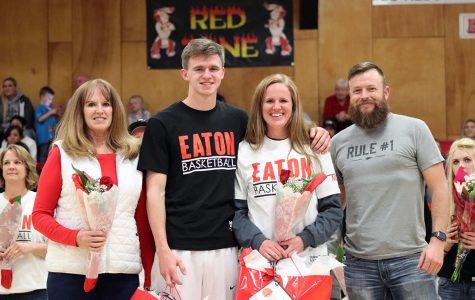 Boys basketball honor seniors before win against Frontier