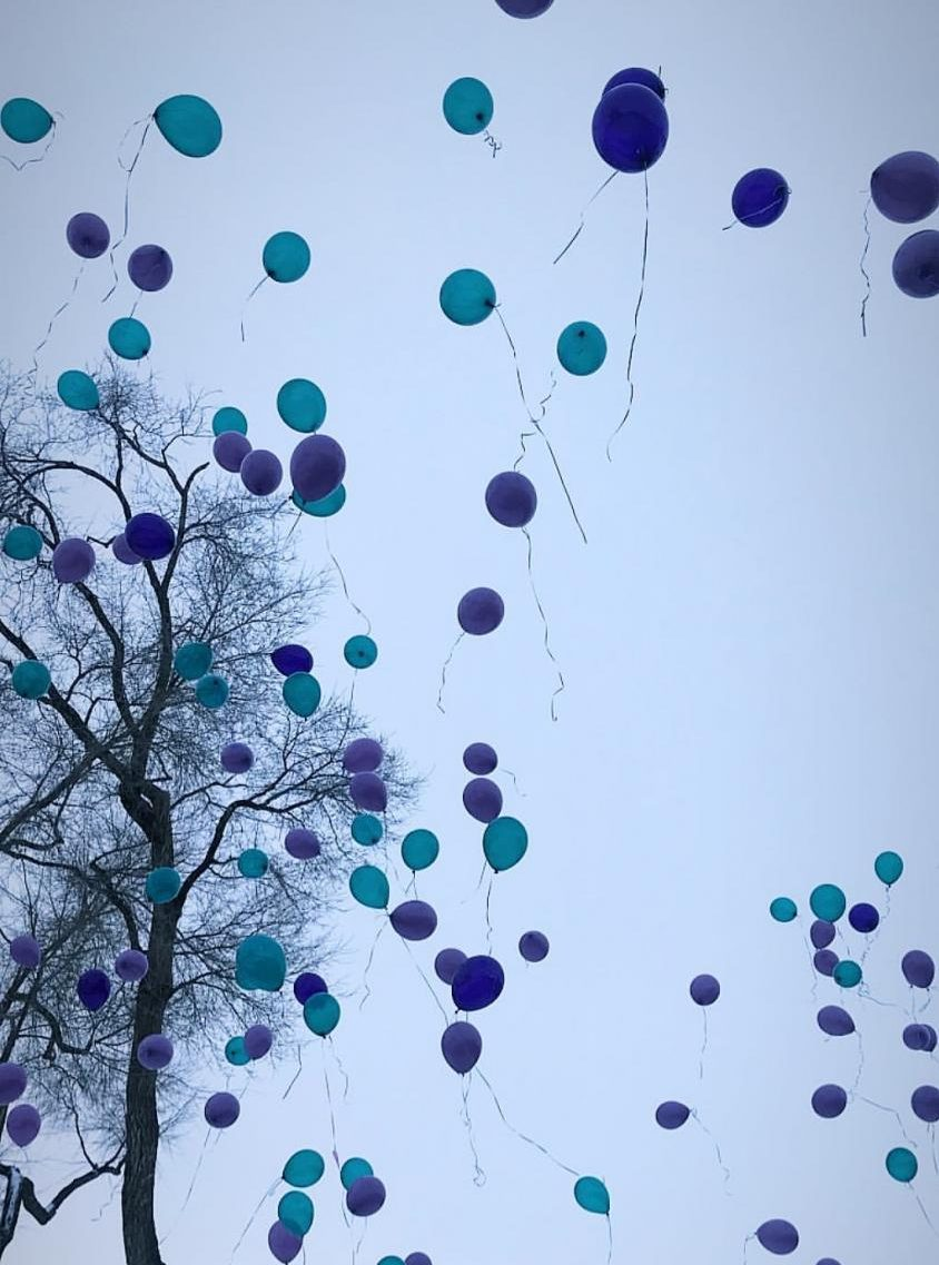 Balloons released in honor of Kennedi Ingram.
