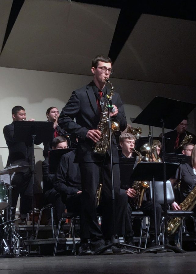 Ben Williams (21) alto saxophone solo during Jazz Combo performance