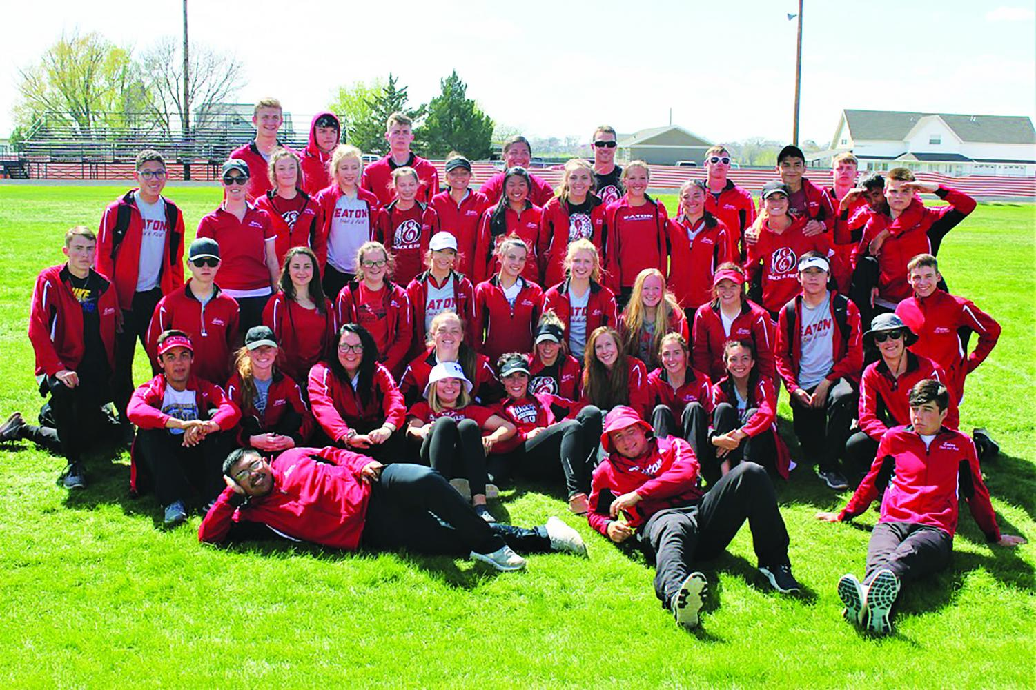 Reds boys and girls track and field team place second Saturday, May 4 at the Patriot League Championship track meet in Sterling, Colorado.