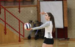 Andie Anderson (20) prepares to serve the ball in set one.