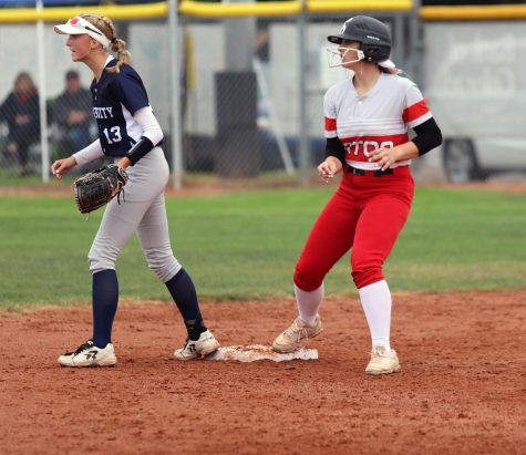 Brooke Beacom (22) steps on second after smacking a double to the wall